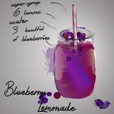 Лимонад голубики с ягодой выплеска цвета Иллюстрация штока