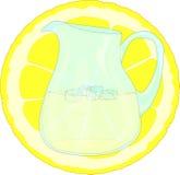 Лимонад и кусок лимона иллюстрация штока