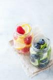 Лимонад коктеиля питья вытрезвителя воды ягод известки лимона свежий настоянный стоковое фото rf
