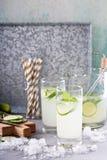 Лимонад огурца в высокорослых стеклах Стоковые Изображения RF