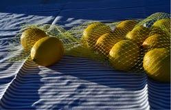 Лимоны в желтой сетчатой сумке Стоковые Изображения