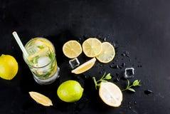 Лимоны, известки и мята острословий коктеиля Mojito Стоковое Изображение RF