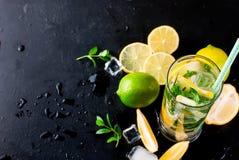 Лимоны, известки и мята острословий коктеиля Mojito Стоковое фото RF