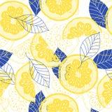 Лимоны и листья желтый цвет и синь Стоковые Изображения