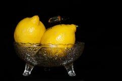 Лимоны на стеклянном шарике с игрушкой прослушивают Стоковые Фото