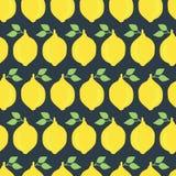 Лимоны vector безшовная чернота предпосылки картины иллюстрация штока