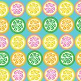 Лимон, известка, апельсин, и куски грейпфрута безшовные на cyan backg Стоковые Фото
