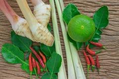 Лимон, лимонное сорго, galangal и chili ингридиента батата Тома на древесине Стоковые Фото