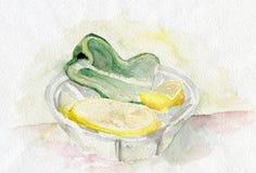 Лимон и зеленый перец Стоковые Фотографии RF