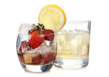 Лимон и коктеиль клубник стоковое фото rf