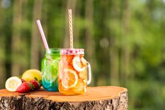 Лимон лимонада свежий с клубниками и лимон с свежим огурцом стоковая фотография rf