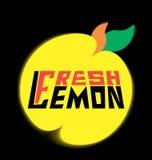 Лимон логотипа свежий с листьями Стоковые Фото