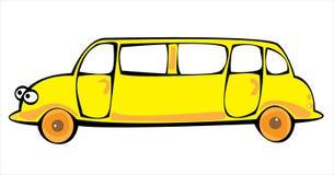 Лимузин шаржа желтый изолированный на белизне Стоковая Фотография