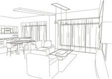 Линейная архитектурноакустическая жить-комната эскиза Стоковое фото RF