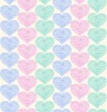 Линейная богато украшенная безшовная картина с текстурой кружевных сердец декоративной Стоковая Фотография RF
