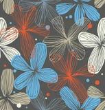 Линейная декоративная безшовная кружевная картина с flowe Стоковое Изображение RF