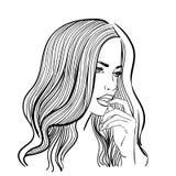 Линейная иллюстрация женского портрета Стоковые Фотографии RF