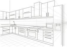 Линейная кухня интерьера эскиза Стоковые Фото