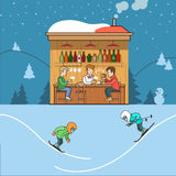 Линейная плоская зима хаты лыжников вектора лыжного курорта Стоковое Изображение RF