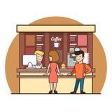 Линейная плоская линия питье кофейни клиентов иллюстрация вектора