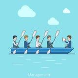 Линейная плоская команда мегафона шлюпки бизнесменов иллюстрация вектора