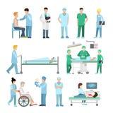 Линейная плоская медсестра терапевта хирурга здравоохранения бесплатная иллюстрация