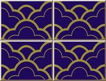 Линейная шкала кривой картины 416 керамической плитки восточная золотая бесплатная иллюстрация