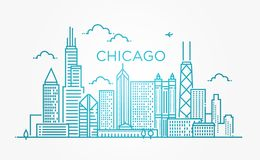 Линейное знамя города Чикаго Стоковое фото RF