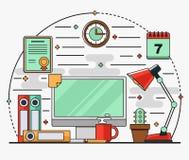 Линейное плоское внутреннее рабочее место с столом, компьютер, лампа, документы, календарь бесплатная иллюстрация