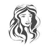 Линейное черное изображение девушки Стоковое Изображение