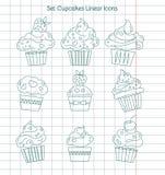 Линейные значки пирожных на листе тетради Стоковые Фото