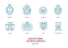 Линейные изображения оружий Южной Америки пальто Стоковые Изображения