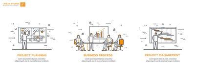Линейные иллюстрации установили 01 бизнес-процесс иллюстрация штока