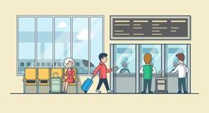 Линейные плоские люди на векторе залы железнодорожного вокзала Стоковые Изображения