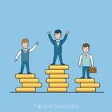 Линейные плоские люди покрывают вектор постамента монетки успешный иллюстрация вектора