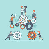Линейные плоские люди работы команды дела поднимают gearwheel бесплатная иллюстрация
