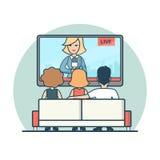 Линейные плоские люди смотря новости на векторе ТВ в реальном маштабе времени иллюстрация вектора