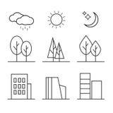 Линейные установленные значки элементов ландшафта Стоковые Фото