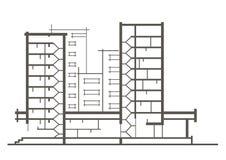 Линейный архитектурноакустический эскиз многоэтажного здания Секционный чертеж Стоковые Фотографии RF