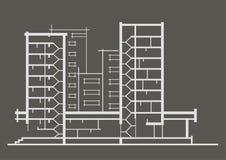 Линейный архитектурноакустический эскиз многоэтажного здания Стоковые Фотографии RF
