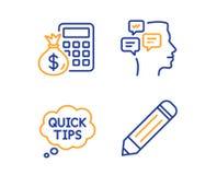 Сообщения, быстрые подсказки и калькулятор финансов набор значков Знак карандаша r иллюстрация вектора