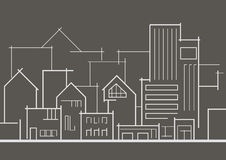 Линейный панорамный город эскиза на серой предпосылке Стоковое Изображение RF