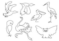 Линейный силуэт птиц эскиза Стоковые Изображения RF