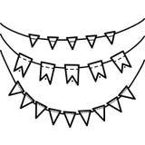 Линейный черно-белый чертеж флагов Стоковая Фотография
