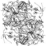Линейный чертеж на теме масленицы: голова ` s женщины в маске масленицы Стоковая Фотография
