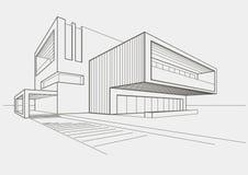 Линейный эскиз современного здания на свете - серой предпосылке Стоковое Изображение RF