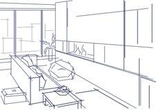 Линейный эскиз современного интерьера Стоковое фото RF
