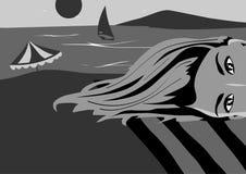 Линии вектора Девушка ослабляет и греет на солнце иллюстрация штока