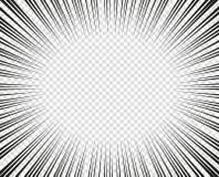 Линии вектора радиальные Концепция скорости, движения, черного цвета Manga элементов дизайна, мультфильм, комиксы Изолированная п иллюстрация штока