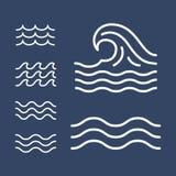 Линии волн океана, моря плоские простые, значки иллюстрация вектора